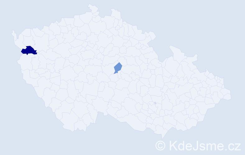 Příjmení: 'Bačkalová', počet výskytů 4 v celé ČR