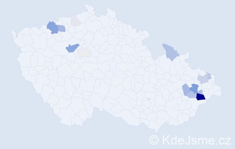 Příjmení: 'Cvernová', počet výskytů 55 v celé ČR