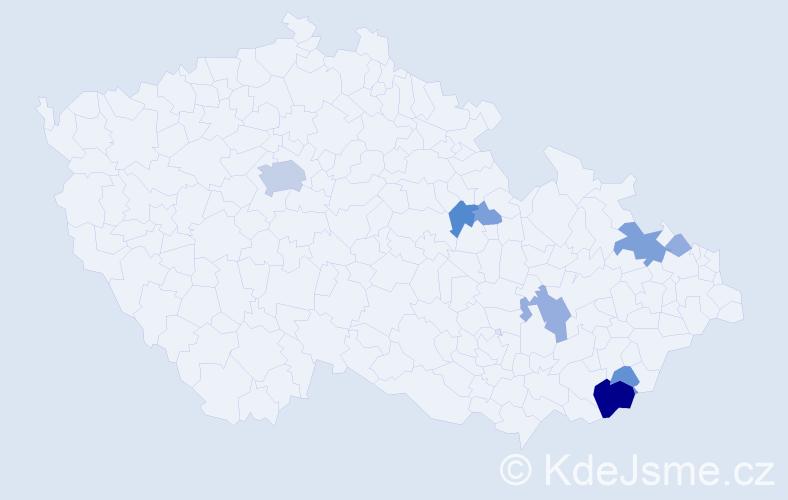 Příjmení: 'Janůj', počet výskytů 25 v celé ČR