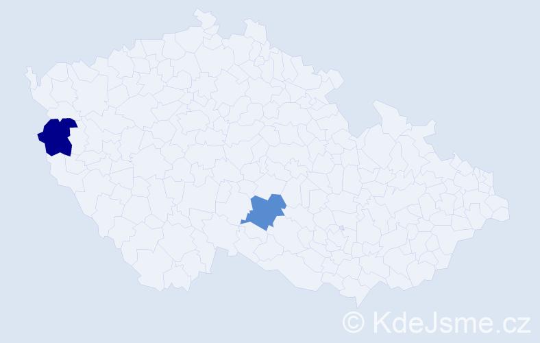Příjmení: 'Kremínová', počet výskytů 4 v celé ČR
