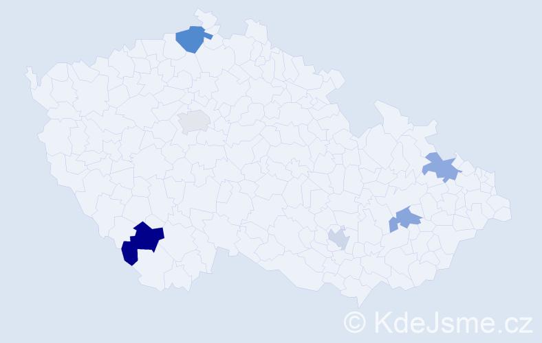 Příjmení: 'Ilieva', počet výskytů 8 v celé ČR