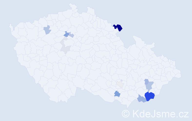 Příjmení: 'Gagová', počet výskytů 28 v celé ČR