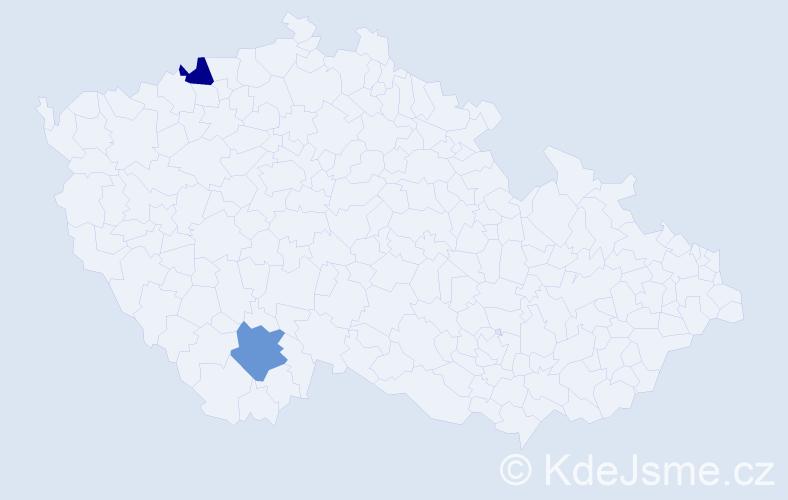 Příjmení: 'Gecelovská', počet výskytů 4 v celé ČR