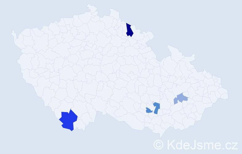 """Příjmení: '""""De Graaf""""', počet výskytů 7 v celé ČR"""