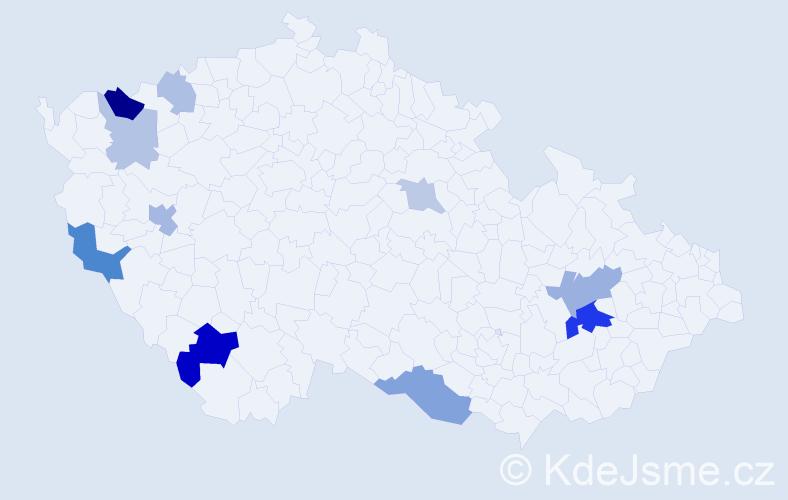 Příjmení: 'Kobanová', počet výskytů 22 v celé ČR