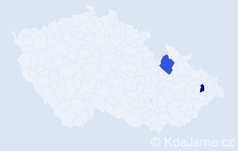 Příjmení: 'Kökörčin', počet výskytů 2 v celé ČR