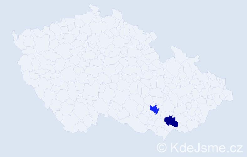 Příjmení: 'Caruana', počet výskytů 4 v celé ČR
