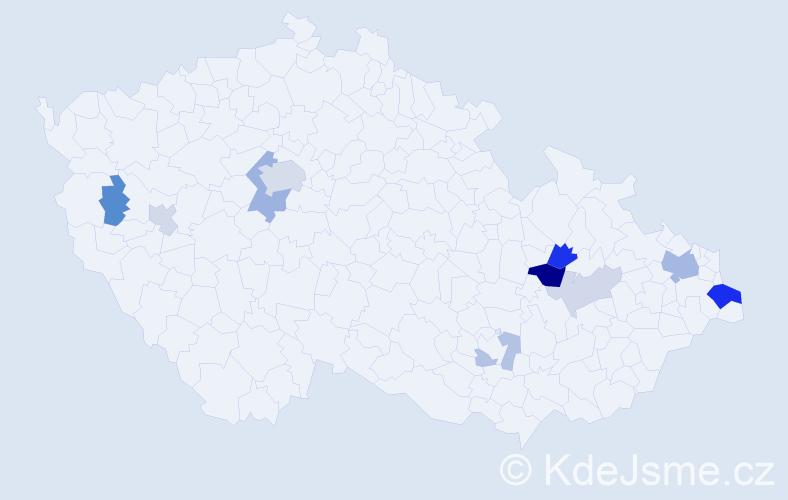 Příjmení: 'Laššáková', počet výskytů 25 v celé ČR