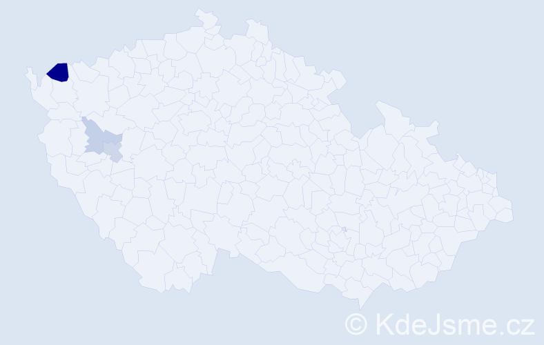 Příjmení: 'Fariz', počet výskytů 6 v celé ČR