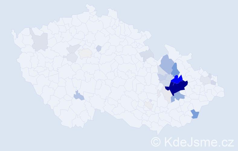 Příjmení: 'Čtvrtlík', počet výskytů 124 v celé ČR