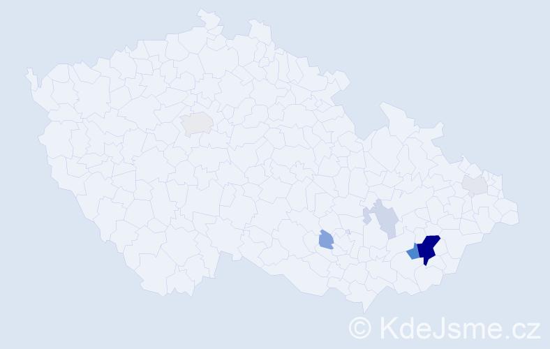 Příjmení: 'Čeleďová', počet výskytů 22 v celé ČR
