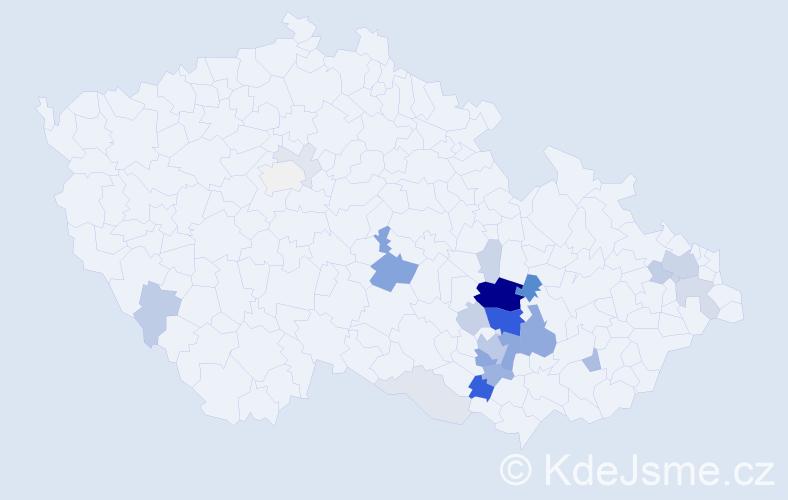 Příjmení: 'Henek', počet výskytů 81 v celé ČR