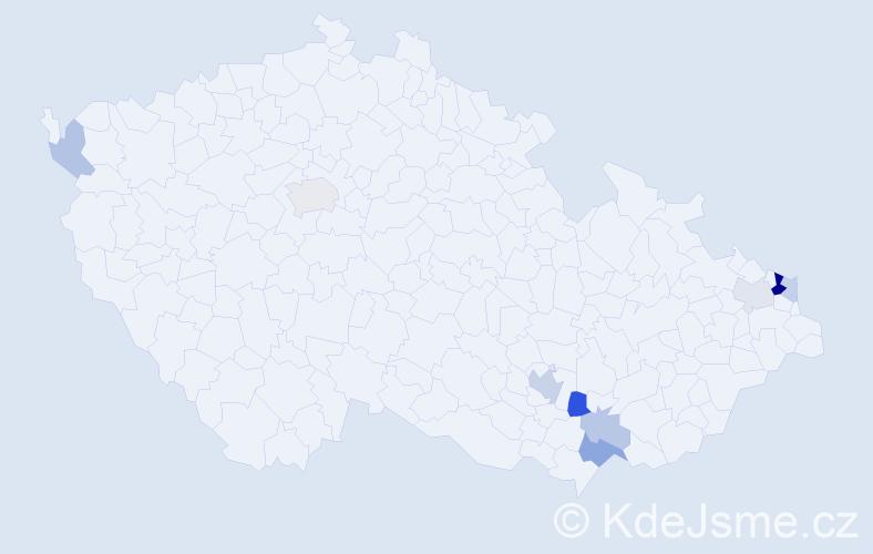 Příjmení: 'Kantek', počet výskytů 20 v celé ČR
