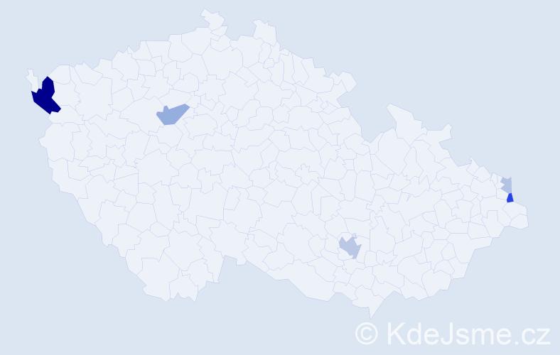 Příjmení: 'Kaziková', počet výskytů 14 v celé ČR