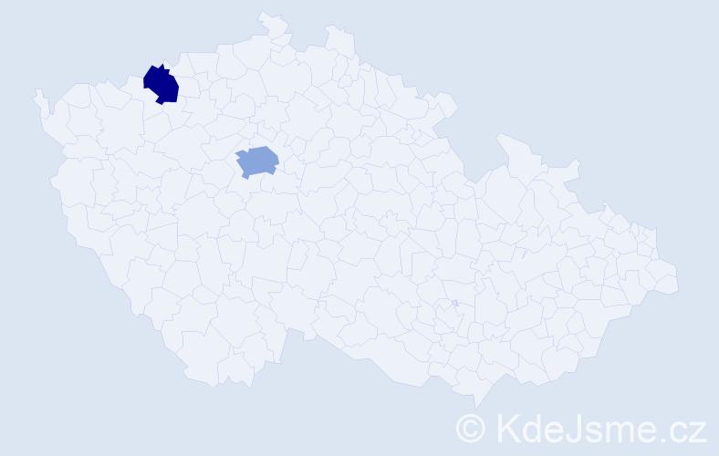 Příjmení: 'Dolnák', počet výskytů 3 v celé ČR