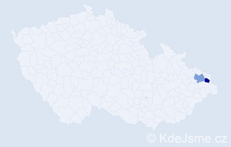 Příjmení: 'Desaťová', počet výskytů 5 v celé ČR