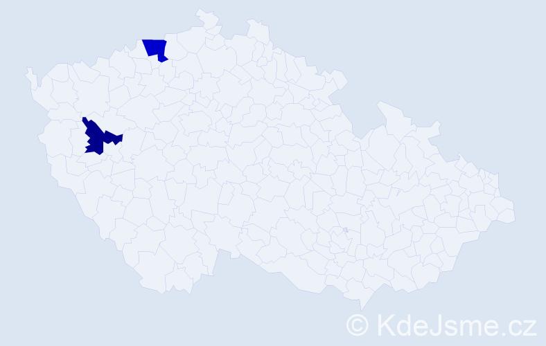 Příjmení: 'Holeczy', počet výskytů 5 v celé ČR