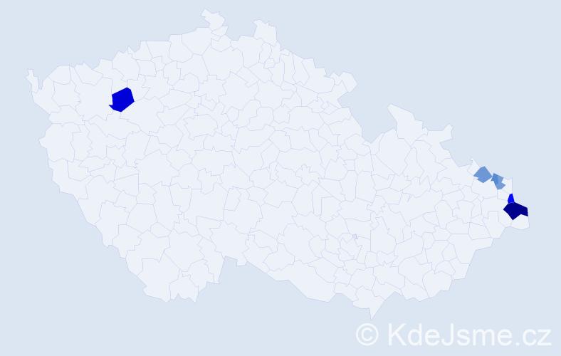 Příjmení: 'Dadak', počet výskytů 19 v celé ČR