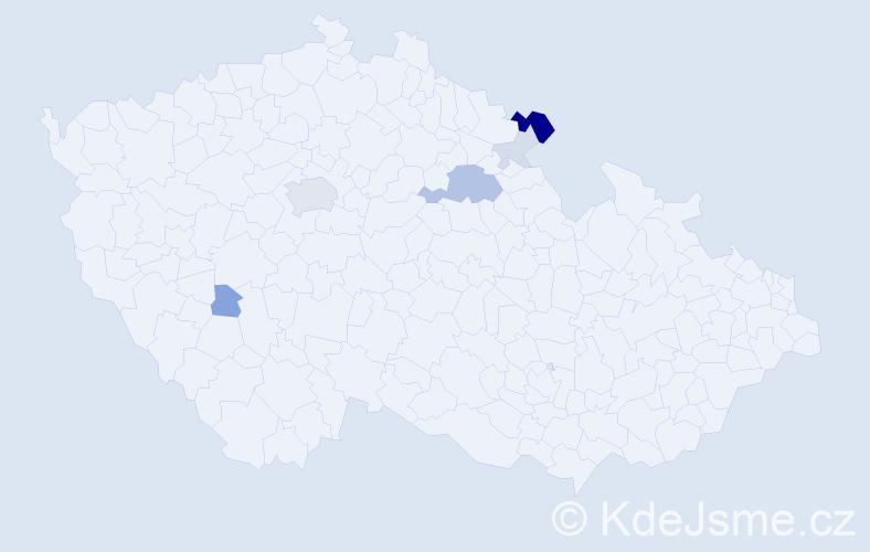 Příjmení: 'Etlíková', počet výskytů 17 v celé ČR