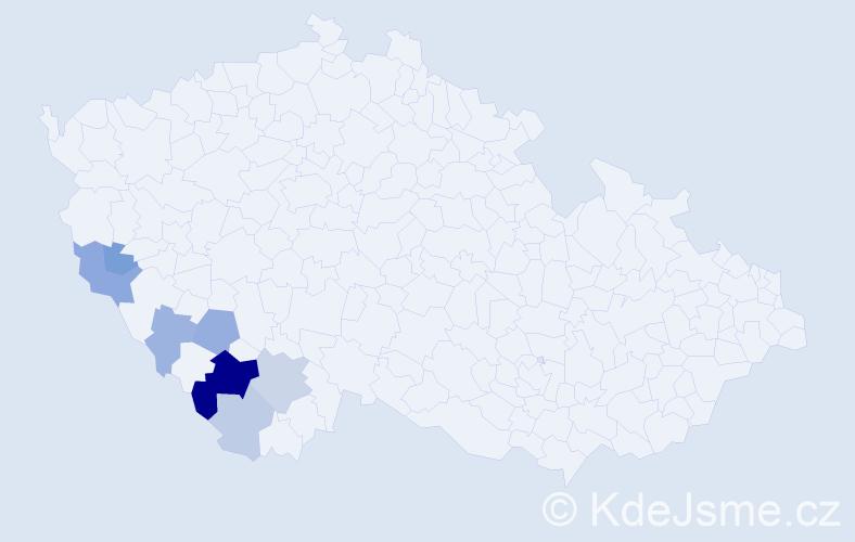 Příjmení: 'Janutková', počet výskytů 17 v celé ČR