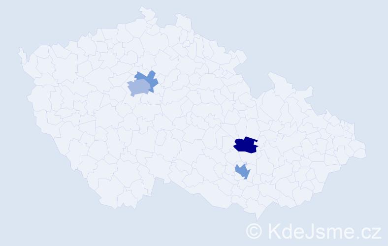 Příjmení: 'Krajná', počet výskytů 10 v celé ČR
