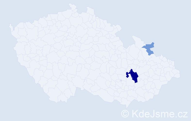 Příjmení: 'Kukunaras', počet výskytů 7 v celé ČR
