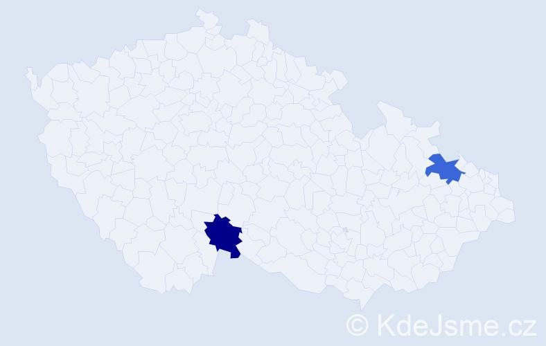 Příjmení: 'Ihnatišin', počet výskytů 2 v celé ČR