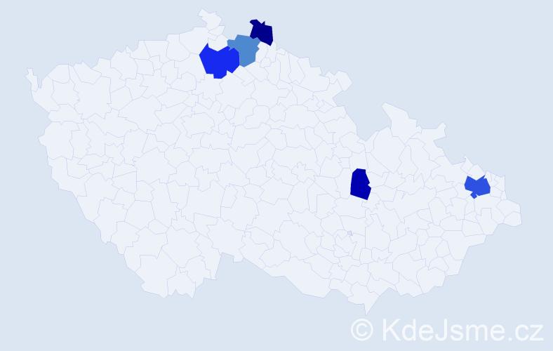 Příjmení: 'Čemová', počet výskytů 11 v celé ČR