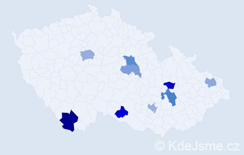 Příjmení: 'Hancková', počet výskytů 19 v celé ČR