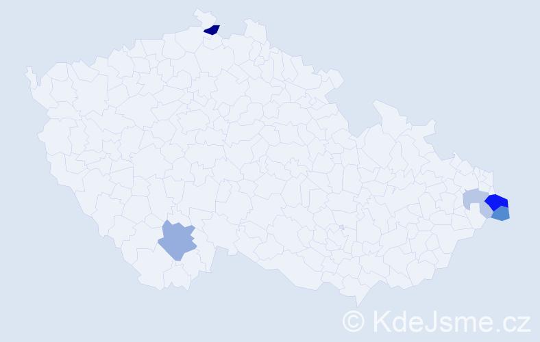 Příjmení: 'Homporová', počet výskytů 10 v celé ČR