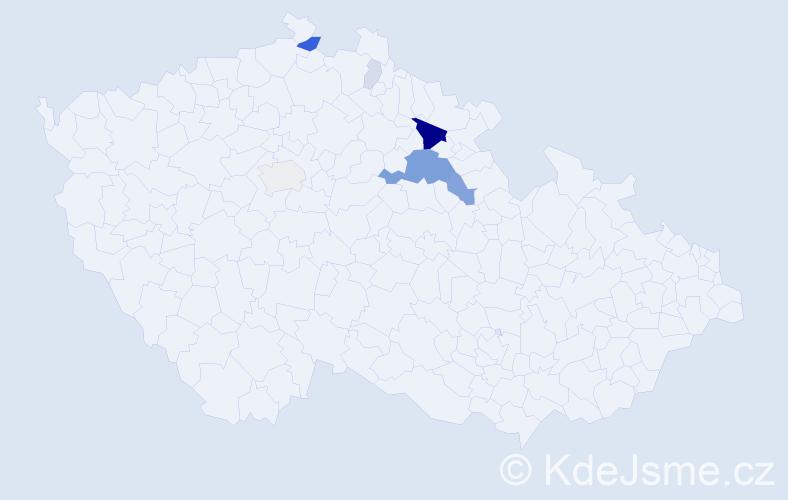 Příjmení: 'Bezr', počet výskytů 28 v celé ČR