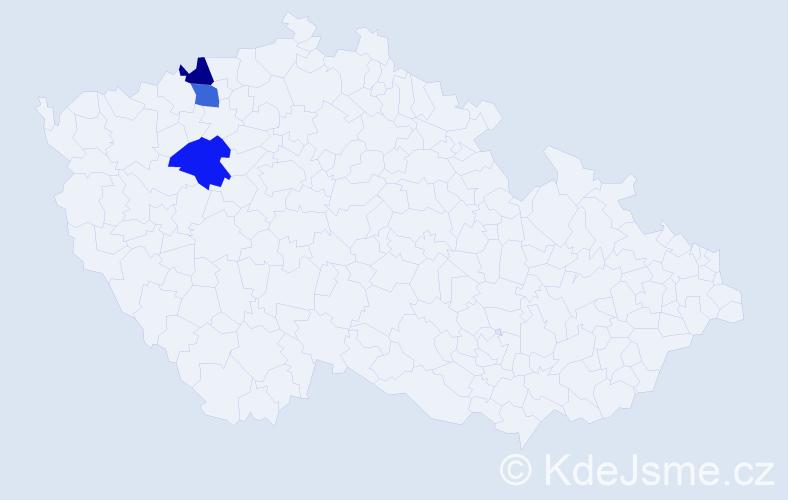Příjmení: 'Červenkovič', počet výskytů 3 v celé ČR