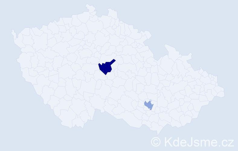Příjmení: 'Čičó', počet výskytů 2 v celé ČR