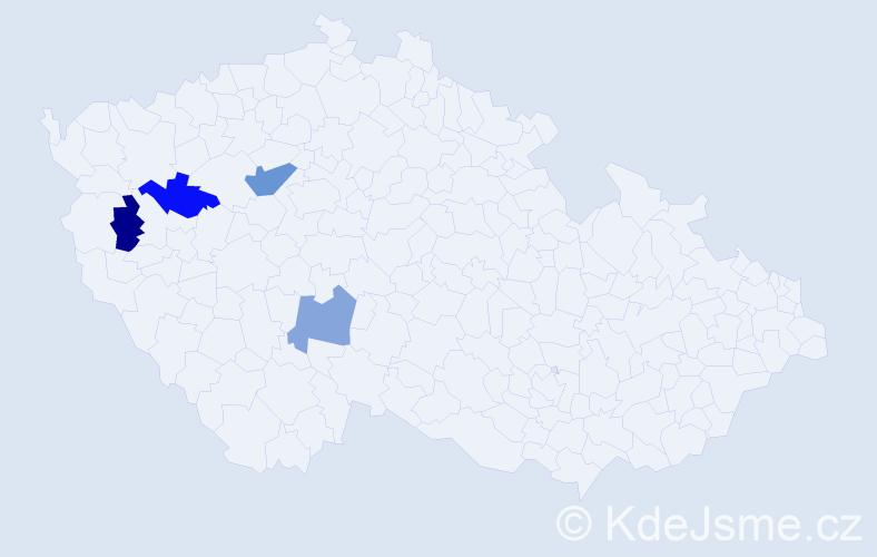 Příjmení: 'Isevičová', počet výskytů 5 v celé ČR