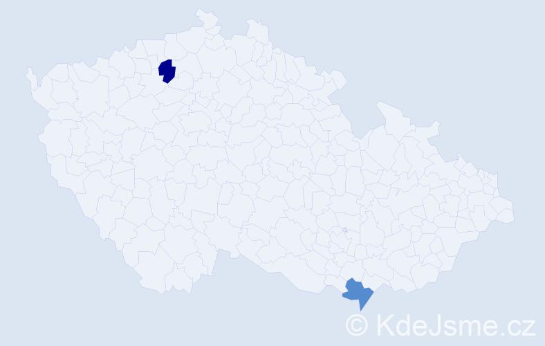 Příjmení: 'Indrišek', počet výskytů 2 v celé ČR