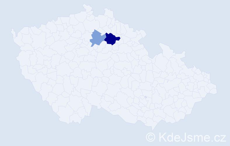 Příjmení: 'Červoňáková', počet výskytů 3 v celé ČR