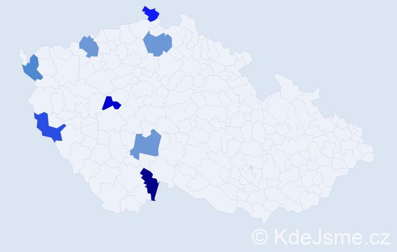 Příjmení: 'Dong', počet výskytů 8 v celé ČR