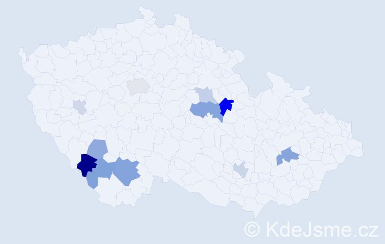 Příjmení: 'Hanzlovský', počet výskytů 20 v celé ČR
