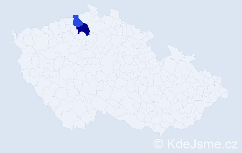 Příjmení: 'Kenezová', počet výskytů 2 v celé ČR