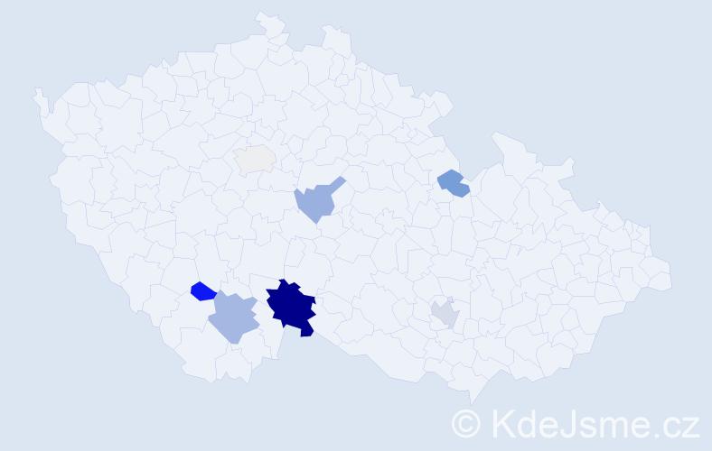 Příjmení: 'Hačka', počet výskytů 25 v celé ČR