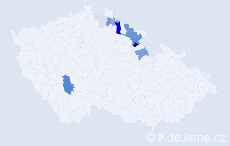 Příjmení: 'Efenberk', počet výskytů 30 v celé ČR