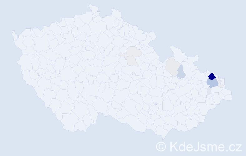 Příjmení: 'Kačmařová', počet výskytů 57 v celé ČR