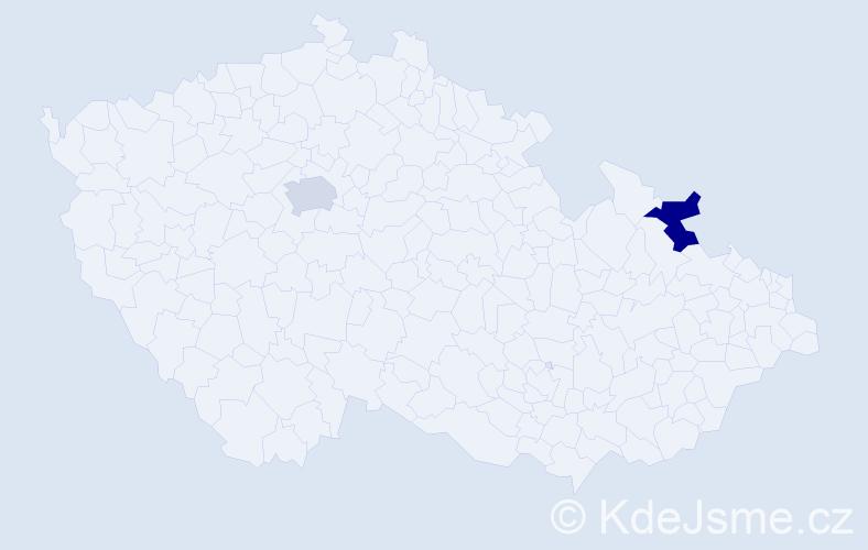 Příjmení: 'Adamou', počet výskytů 2 v celé ČR