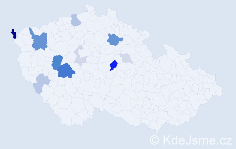 Příjmení: 'Kalčicová', počet výskytů 30 v celé ČR