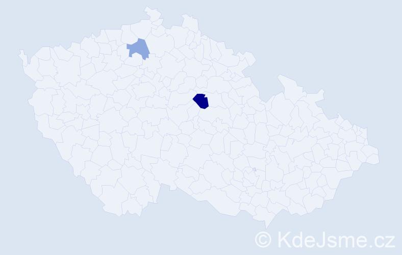 Příjmení: 'Kumančíková', počet výskytů 3 v celé ČR