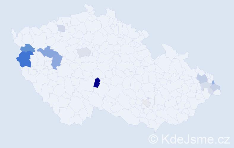 Příjmení: 'Gajdica', počet výskytů 26 v celé ČR