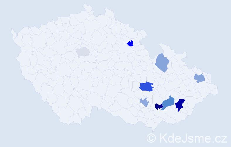 Příjmení: 'Jáněová', počet výskytů 20 v celé ČR