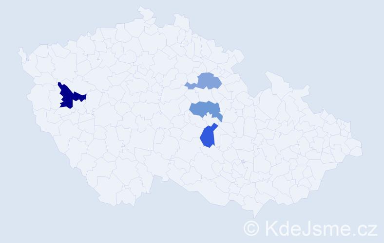 Příjmení: 'Cubera', počet výskytů 5 v celé ČR