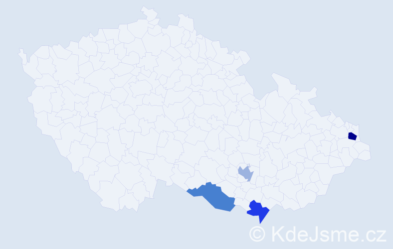 Příjmení: 'Bendíčková', počet výskytů 5 v celé ČR