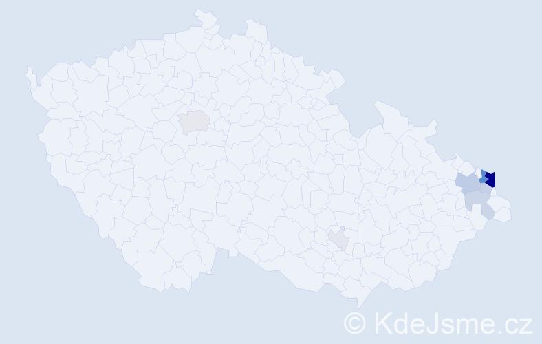 Příjmení: 'Gajdzioková', počet výskytů 21 v celé ČR